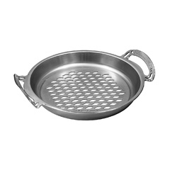 AUS-ION™ 35cm 'RAW' Wrought Iron Bigga 'Flaming' (perforated) Skillet